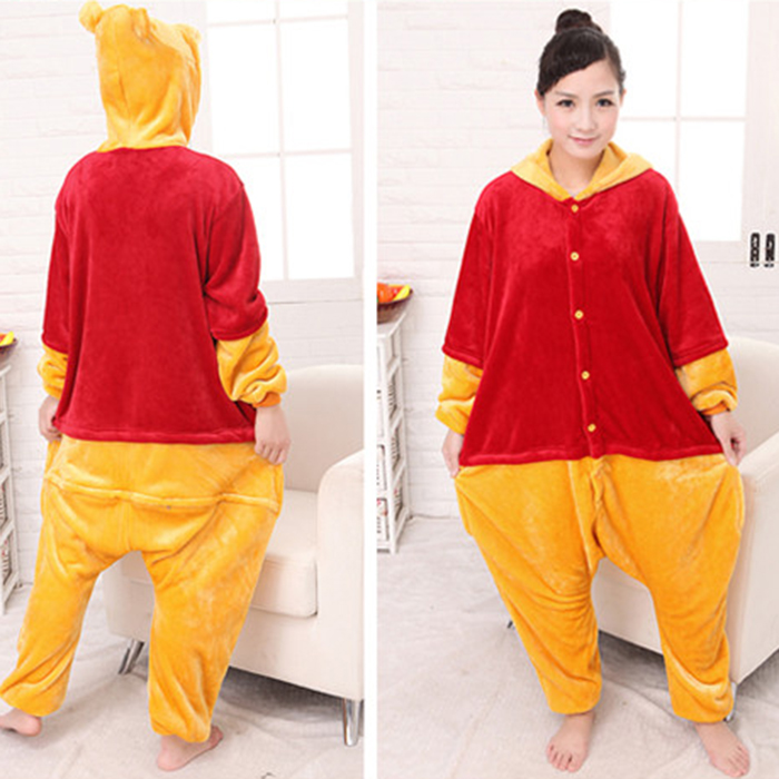 HOT Anime Pijama Cartoon Unisex Adult Winnie Pajamas Cosplay Costume Animal Onesie Sleepwear Suit Winnie