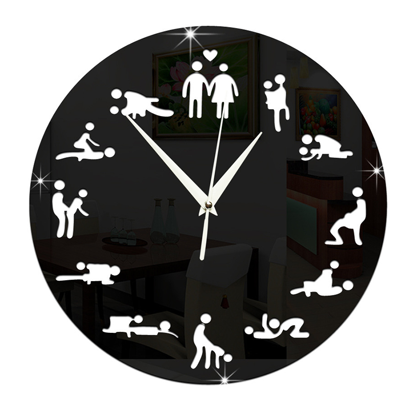 Modern Design Sex Position Mute Wall Clock For Bedroom Wall Decoration Silent Make Love Clock Watch Wedding Gift Wall Clocks 034