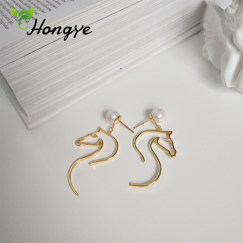 Hollow Gold Horse Tassel Earrings from Natural Pearls Silver 925 Ear Jewelry Women Genuine Shell Pearl Brincos Drop Earrings in Earrings from Jewelry Accessories