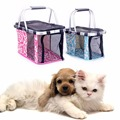 High Quality Summer Pet Supplies Portable Folding Handle Basket Dog Cat Carrier Breathable Tote Bag Easy Carry Pet Bag Travel