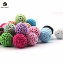 Let's make Baby Teething Accessories 20mm 5pc Can Chew Crochet Beads DIY Nursing Jewelry Organic Bracelet Teether Crochet Beads