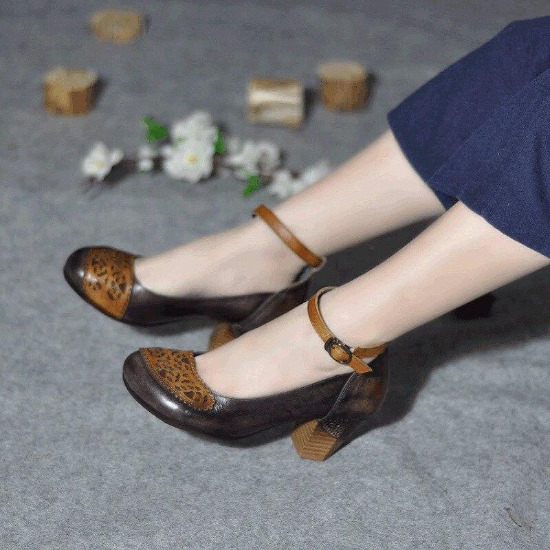 Fatti Di Mano Delle Cuoio Stile Centimetri Pompe caffè Brown A Genuino Cinturino Scarpe Donne Tacchi 6 Alla Caviglia Ricamo Primavera Retrò Del Alti qaEnw6txAn