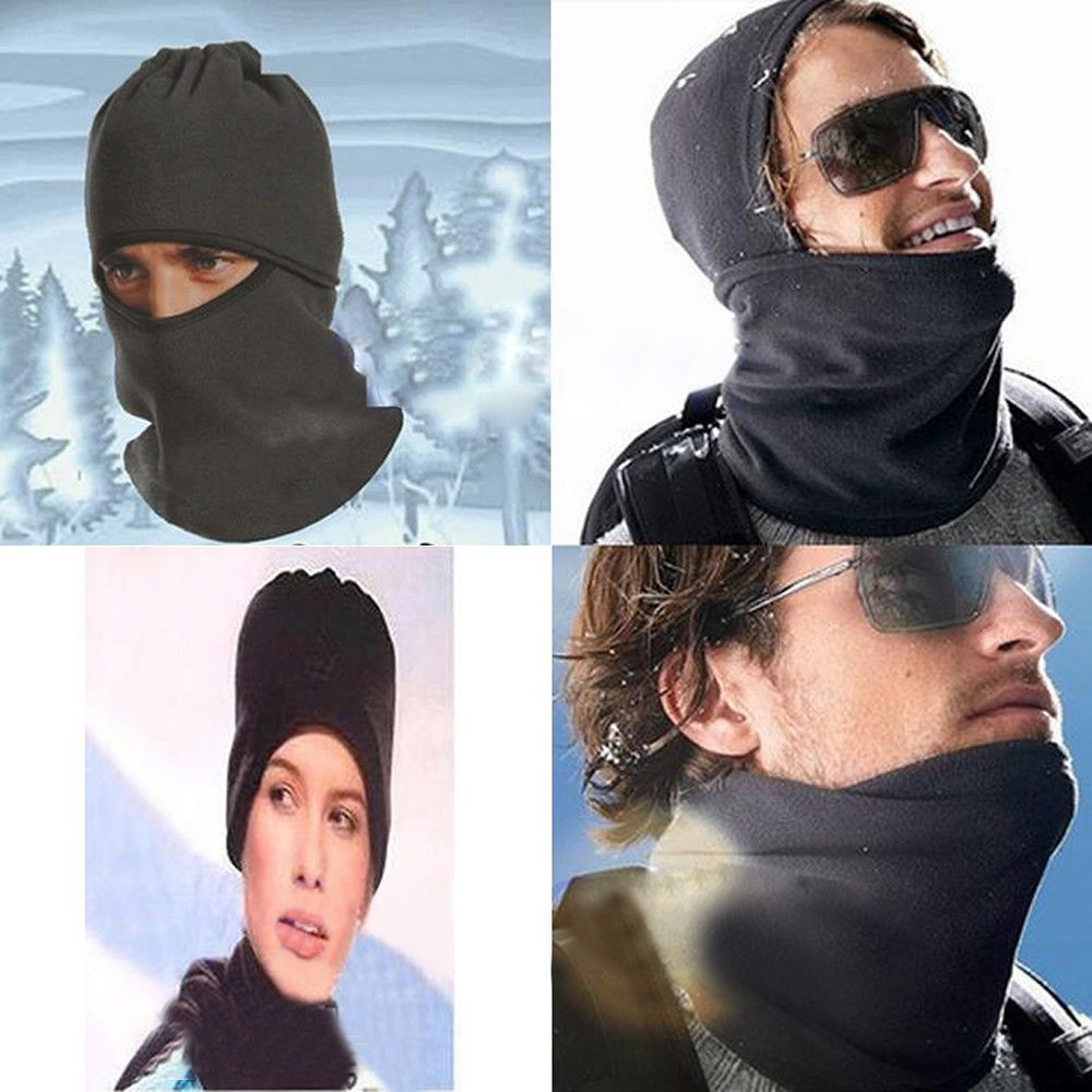Unisex Thermal Fleece Balaclava Neck Winter Ski Full Face Mask Cover Cap for Outdoor Sport CS Windproof Hat Running Hat stylish fleece windproof hat black