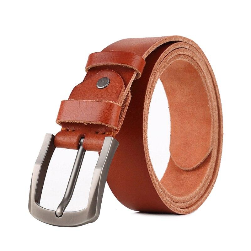 Hiver en cuir ceinture hommes en cuir véritable ceintures pour hommes ruban boucle  hommes sangle de jean brun couleur largeur string dans Ceintures et ... 62ccbe79662
