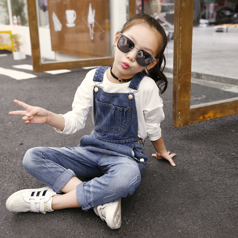 Denim Jumpsuit Autumn New Fashion Jeans Kids Overalls Baby Romper 2018 Girl Clothes 4 5 6 7 8 9 10 11 12 13 Years School Costume print overalls jeans for girls 3 4 5 6 7 8 9 10 11 years 2018 new fashion baby girl fall clothes print jumpsuit long denim pant