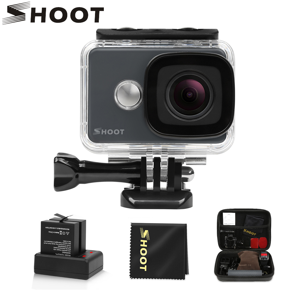 SHOOT 45M Waterproof 4K Action Camera 14MP 1080P/60FPS Ultra HD WiFi Sport Cam with 170 Wide Angle Lens Accessory Set For Go Pro ultra hd 4k action camera wifi camcorders 16mp 170 go cam 4 k deportiva 2 inch f60 waterproof sport camera pro 1080p 60fps cam