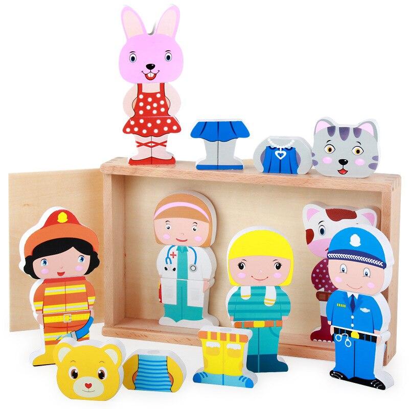 Free shipping Children's early education wooden block toys, Cartoon animal magnetism blocks, Kids block toy/gift