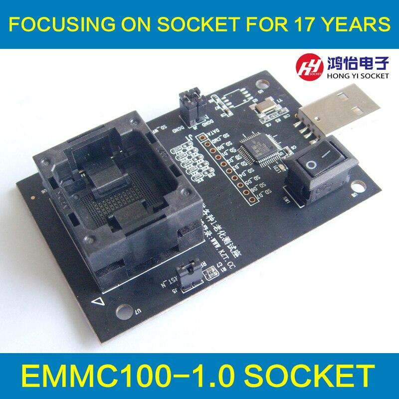 eMMC100 socket with USB Interface,for BGA100 testing, Nand flash Size 12x18mm Pitch 1.0mm Reader programmer socket Adapter free shipping program ch2015 usb high speed programmer 300mil fp16 to dip8 socket eeorom spi flash data flash avr mcu programmer