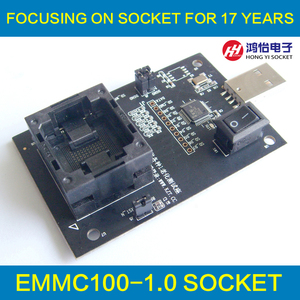 eMMC100 socket with USB Interface,for BGA100 testing, Nand flash Size 12x18mm Pitch 1.0mm Reader programmer socket Adapter