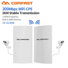 COMFAST CF E130N 1KM 300Mbps 2.4Ghz 야외 미니 무선 AP 브리지 WIFI CPE 액세스 포인트 5dBi WI FI 안테나 Nanostation CPE