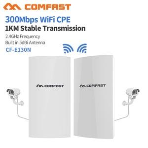 Image 1 - COMFAST CF E130N 1KM 300Mbps 2.4Ghz açık Mini kablosuz erişim noktası köprü WIFI CPE erişim noktası 5dBi WI FI anten Nanostation CPE