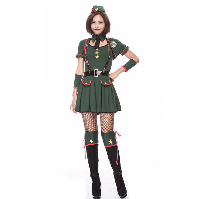 2edb6d0865def US $24.84 29% OFF|New Arm Green Women Halloween secret agent Costume Female  soldier officer uniform Cosplay Purim Christmas Nightclub party dress-in ...