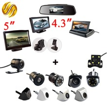 2In1 Car Parking System Kit 4.3″ Desktop Foldable Mirror / 5″ Sucker Monitor TFT LCD HD Screen + Waterproof Rear View Camera