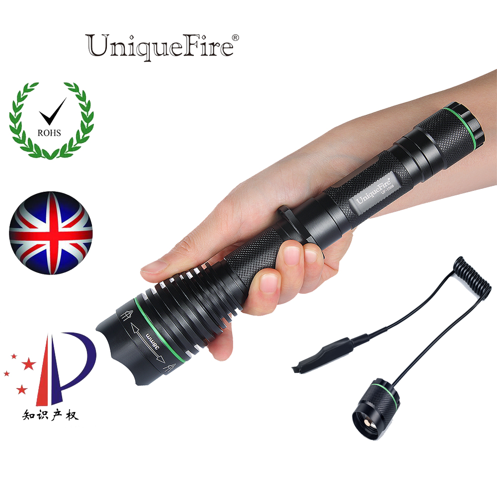 UniqueFire 1508 OSRAM Infrared 940NM LED Flashlight 38mm Convex Lens Night Vision Zoomable Torch 3 Mode + Remote Pressure Switch uniquefire 1407 torch 850nm ir led torch zoomable 3 mode flashlight night vision lantern and pressure switch for 1 18650 battery