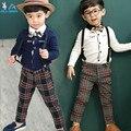 2016 Meninos cavalheiro se adapte t-shirt + Calças 2 pcs/3 pcs Cachecol arco calça jeans camisa jaqueta Xadrez set Crianças bebê Crianças Frete grátis