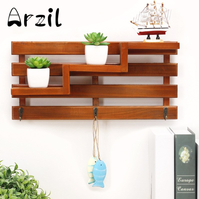 3 Tier Hanging Storage Rack Stairs Wood Key Cargo Handmade Living Room Organizer Box Simple