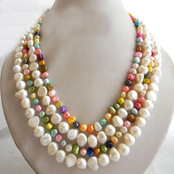 # 001 Fashion natural freshwater pearl jewelry strand necklace