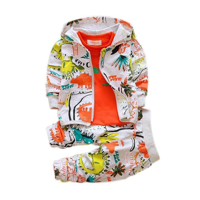 אביב סתיו תינוק בנים בנות סטי בגדי Cartoon חליפת ילדים רוכסן נים חולצה מכנסיים 3pcs ילדים כותנה אימוניות