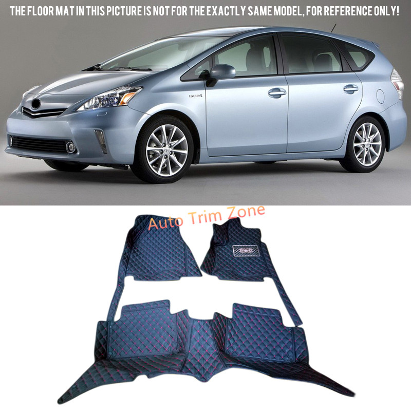 Black Interior Leather Floor Mats & Carpets For Toyota Prius 2010-2014 XW30 interior black leather floor mats