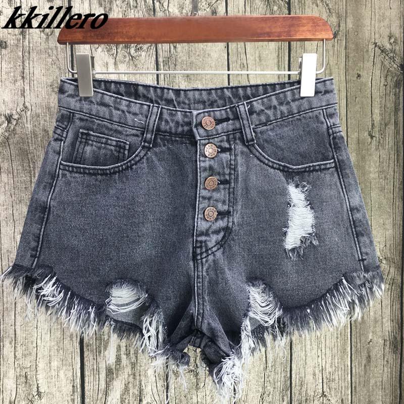 KKillero Vintage ripped hole fringe 6 color denim   shorts   women Casual pocket jeans   shorts   2017 summer girl hot   shorts   SL086