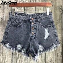 KKillero Vintage ripped hole fringe 6 color denim shorts wom