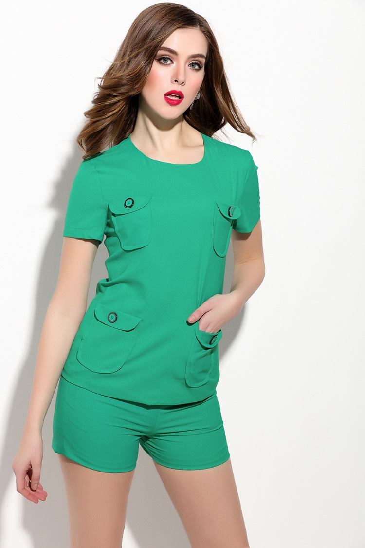 Summer High-End Women Dress Two Piece Set Blouse + Pant Green Color Pockets Button Fashion Short Sleeve Zipper Fly Fashion Cloth
