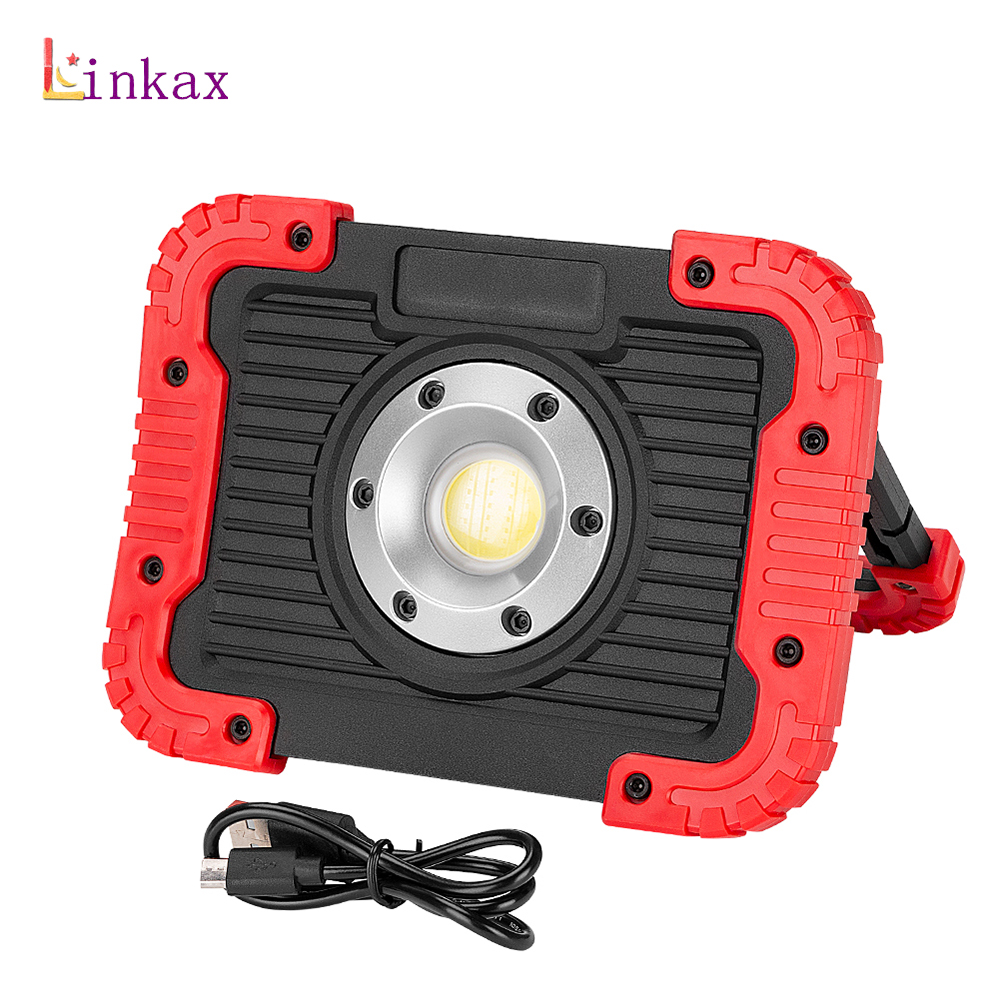 Portable 10W COB LED Work Light Floodlight Flashlight USB Rechargeable Camping Spotlight with Hook Lamp Built-in Battery