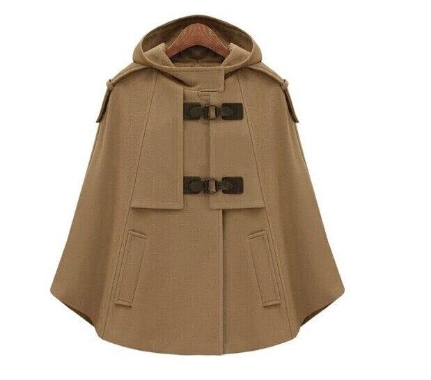 Британский бренд, пончо,, Осень-зима, коричневый, темно-синий, кашемировый, с капюшоном, пальто, женская накидка, Casacos Femininos manteau femme