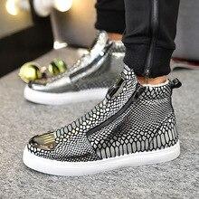 Купить с кэшбэком Winter Shoes Men Fashion Bling High Top Zipper Men Sneakers Height Increasing PU Leather Fur Lined Cotton Men Shoes Size 39-44