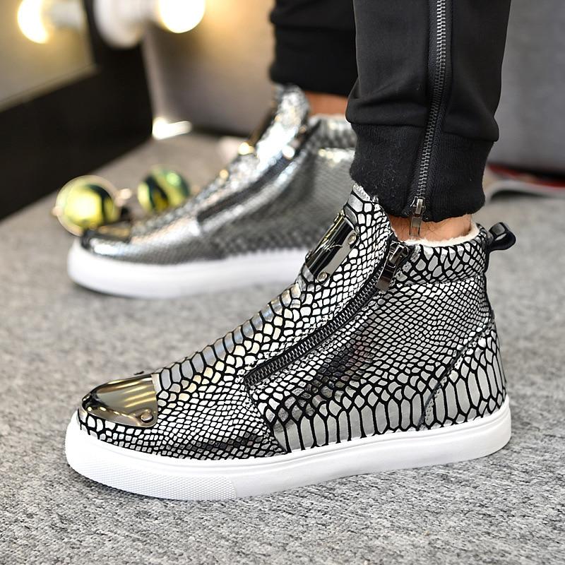 Winter Shoes Men Fashion Bling High Top Zipper Men Sneakers Height Increasing PU Leather Fur Lined Cotton Men Shoes Size 39 44