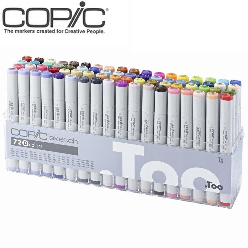 Freeshipping 72 ternos cores art marcador Copic esboço 2 gerações cabeça macio caneta profissional mestre design de animação roupas