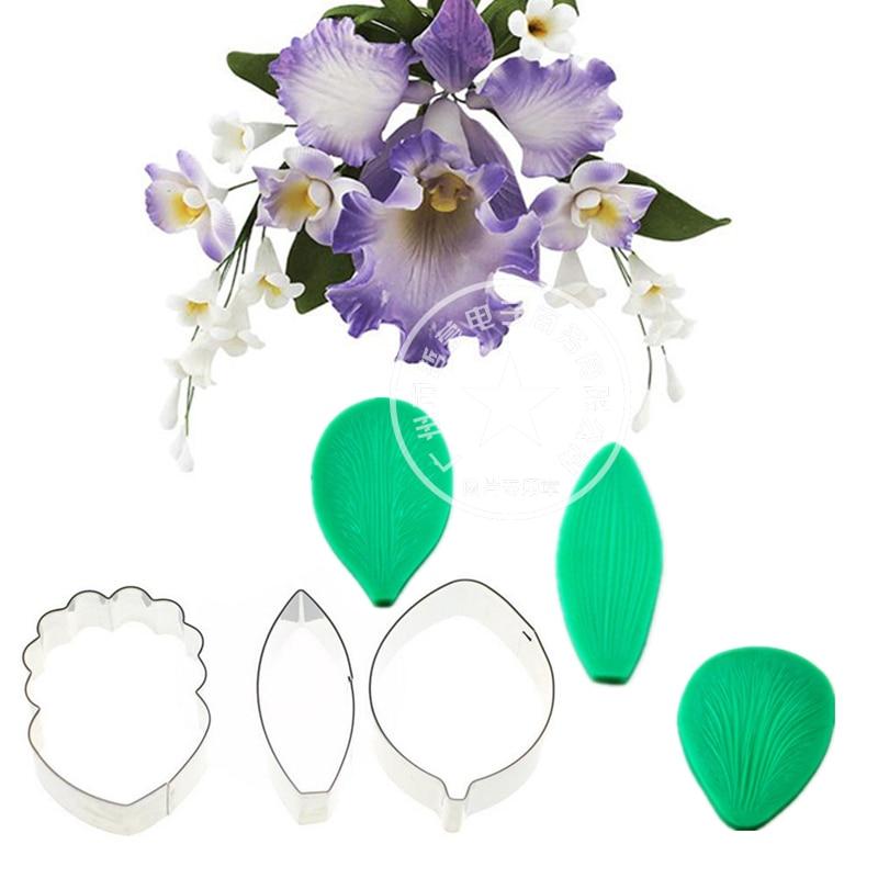 Силиконовая Орхидея Cymbidium, резак для цветов Veiner, инструменты для украшения торта, Fondant, форма для орхидеи Cattleya, Veiners