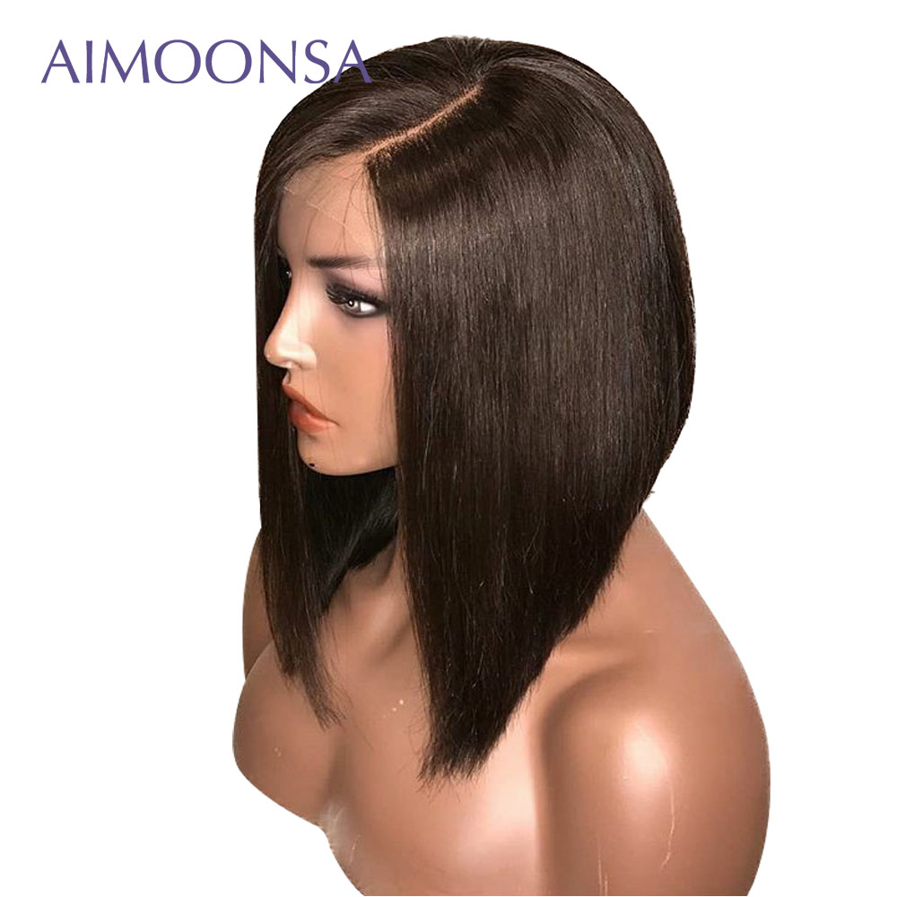 Bob Human Hair Wig Short Lace Front Bob Wigs With Baby Hair Straight Preplucked Lace Wig Natural Hairline Side Part Wig Remy