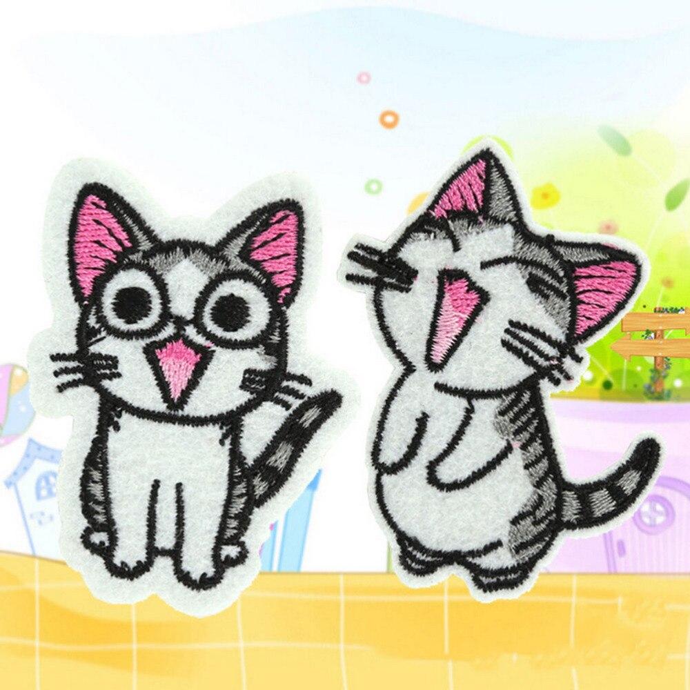ᗚ1 unids coser hierro en Appliques encantador gato bordado parches ...