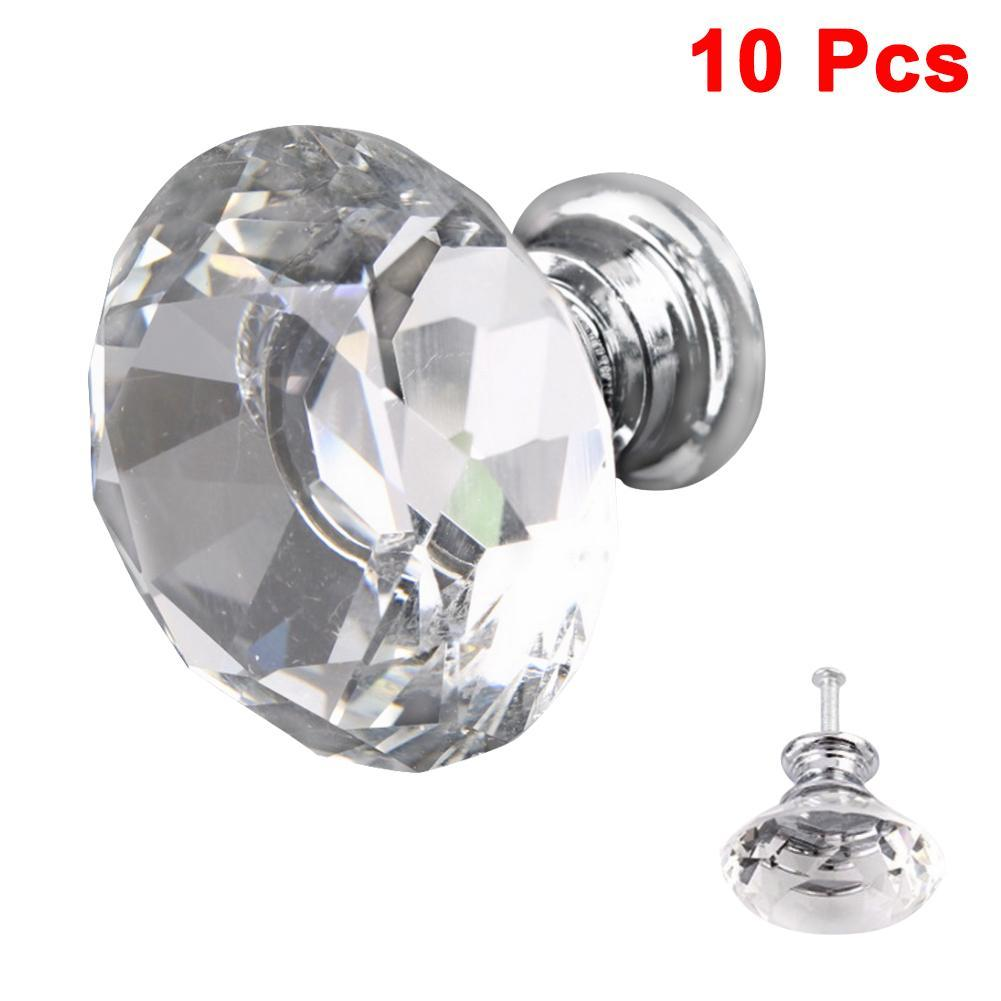 2x Crystal Diamond Glass Cabinet Door Drawer Wardrobe Pull Handle Knobs