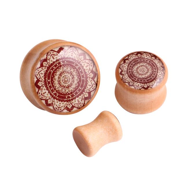 Mandala Wood Ear Plugs Flower Saddle