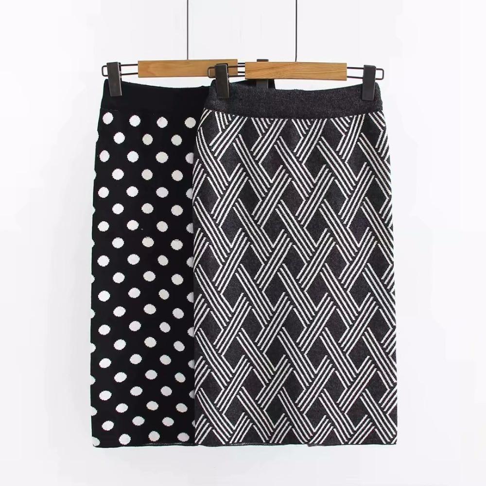 2 De Grande Talla Pagado Sexy Cintura Faldas Vintage 2018 Invierno Falda Para Tubo Alta Punto 1 Midi Mujer Caliente Negra H5A1q