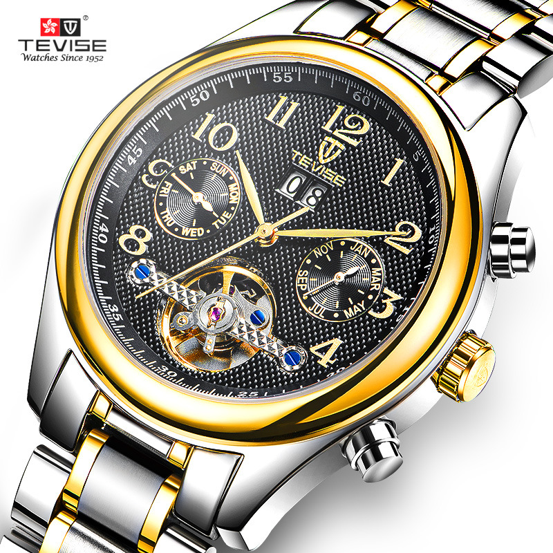 Luxury Brand Top Men Automatic Watch Tourbillon Mechanical Men Watch Self Wind Wristwatch Stainless Steel Clock Date Calendar tevise men automatic self wind mechanical wristwatches business stainless steel moon phase tourbillon luxury watch clock t805d