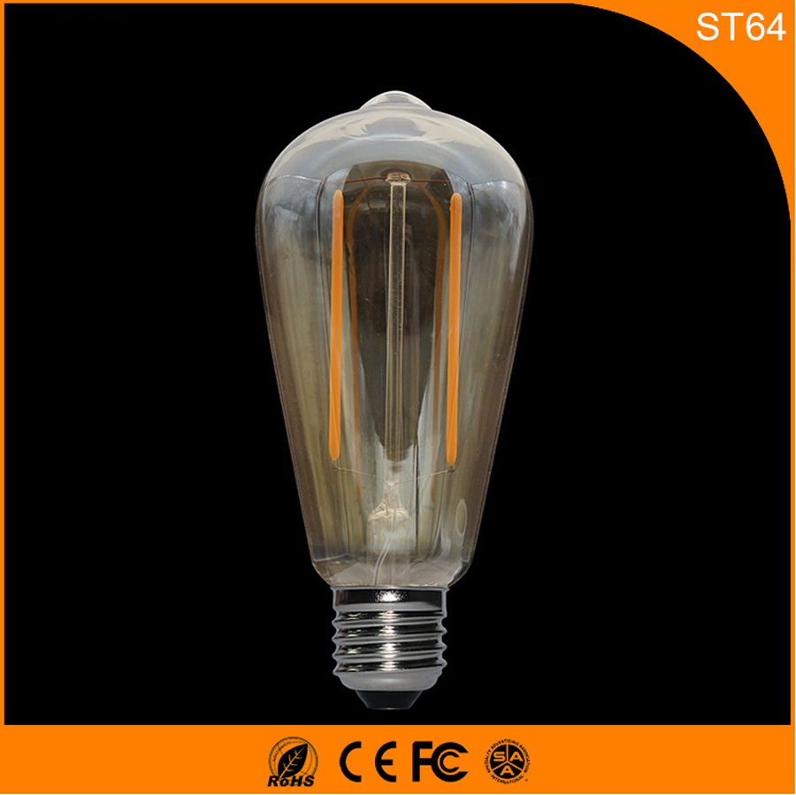 50PCS Retro Vintage Edison E27 B22 LED Bulb ,ST64 2W Led Filament Glass Light Lamp, Warm White Energy Saving Lamps Light AC220V e14 2w 180lm 3000k warm white light 2 led filament bulb transparent ac 220v