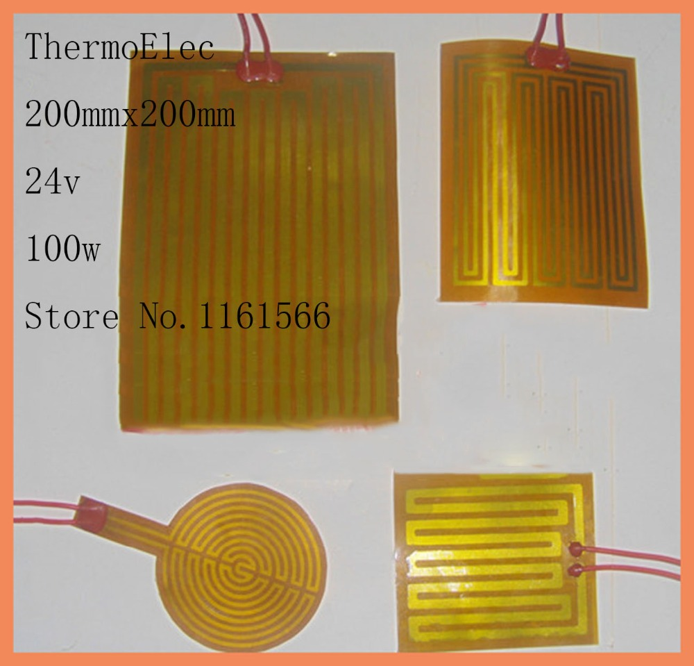 200mmx200mm 24v100w element heating PI film polyimide heater heat rubber electric flexible heated bad printer heater pad element dia 400mm 900w 120v 3m ntc 100k round tank silicone heater huge 3d printer build plate heated bed electric heating plate element