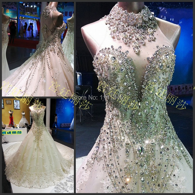 Super Luxurious Hand Beading Stones Wedding Dress Y Backless Long Train Lace Bride Gowns Vestidos