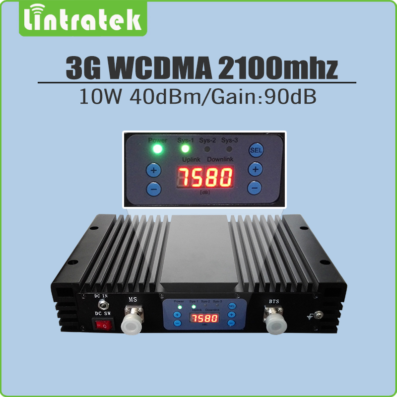 10W 40dBm Gain 90dB 3G WCDMA 2100mhz Signal Repeater 3G UMTS 2100MHz(Band 1) Mobile Signal Booster with AGC/MGC/LCD Display