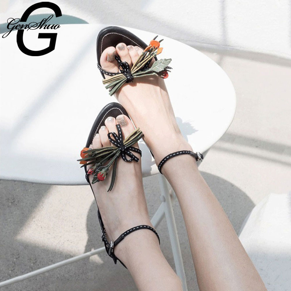 GENSHUO Vintage Narrow Band Bowtie Flower Sandals For Summer Kitten Heels Open Toe Floral Summer Fashion Sandalias Mujer StrappyGENSHUO Vintage Narrow Band Bowtie Flower Sandals For Summer Kitten Heels Open Toe Floral Summer Fashion Sandalias Mujer Strappy
