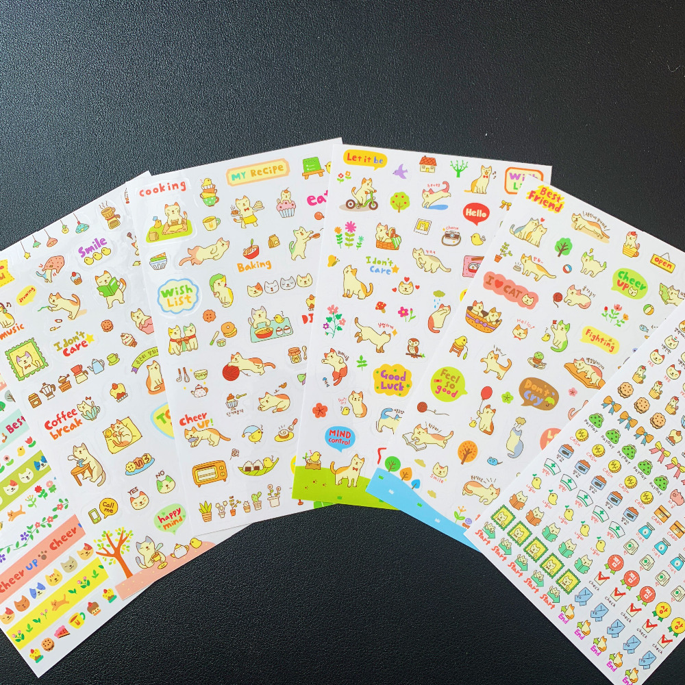 6 Sheets / Pack Cute Cat Daily Life DIY Adhensive Stickers School Office Supply Student Stationery Kids Gift