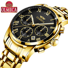 OLMECA Mens Watch Quartz Multi-function Waterproof Sports Watches Top Brand Luxury Bracelet Clasp Alloy Diver Water