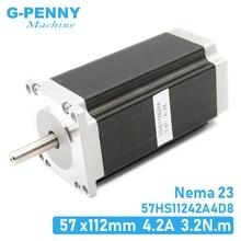 חדש הגעה Nema23 מנוע צעד 57x112mm 4.2A 3.2Nm D = 8mm CNC דורך מנוע יחיד פיר 457Oz in עבור CNC מכונת, 3D מדפסת