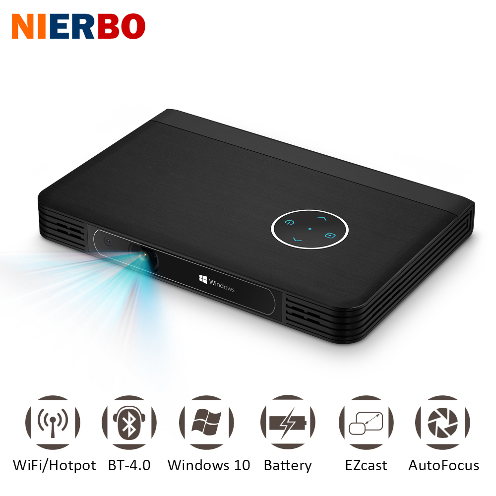 NIERBO LED 4K Projector Battery Inside Portable Windows 10 Projector Data Show Business projector Smartphone WiFi Bluetooth HDMI nierbo 250 inches rear screen 16 9 4 3 hd home cinema portable rear projection screen wall mounted shop business show business