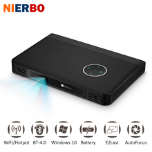 NIERBO LED Battery Projector Portable Windows 10 Projector Handheld Data Show Business projector Smartphone WiFi Bluetooth