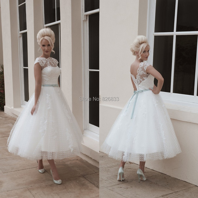 High Quality Vintage Lace Short Bride Dresses Tea Length Short ...