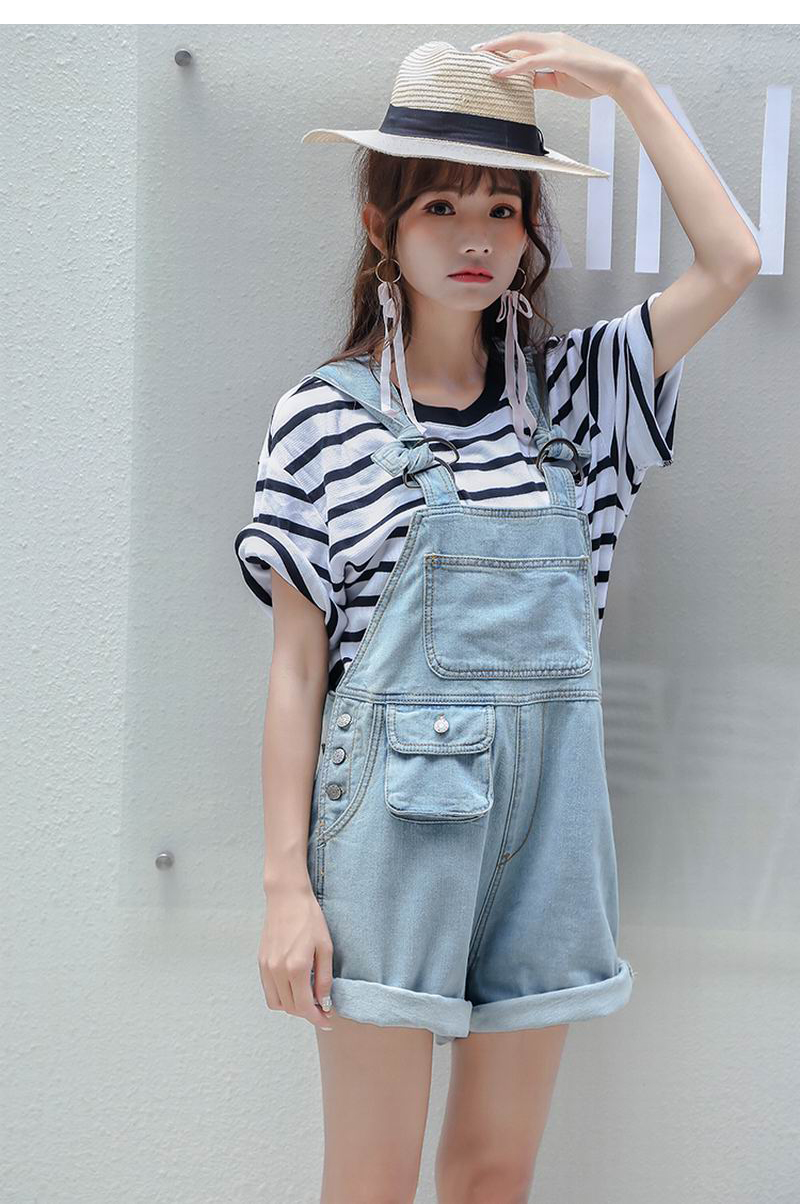 05dc505060a8 2018 New Spring Summer Women Sleeveless Casual Baggy Shorts Denim Jeans  Jumpsuits Light Blue Slim Overall Playsuits Shorts Pants